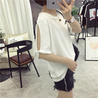 Women's Korean-style stylish loose-fitting cold shoulder short-sleeve t-shirt