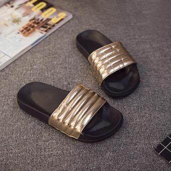 Womens Ladies Casual Slip On Sliders Striped Flat Slipper Flip Flop Sandal