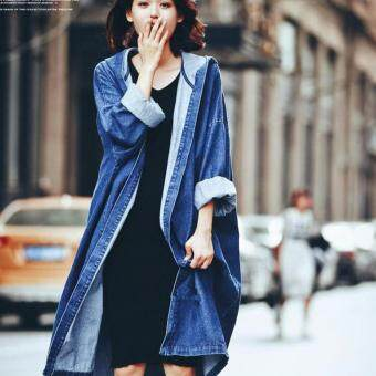 Womens Oversized Denim Jacket Ladies Long Casual Denim Coat