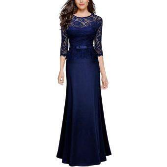 Harga Women's Retro Floral Lace Slim Peplum Long Evening Sexy DressElegant Party Maxi Dress Floor Length Dresses Robe Vestidos