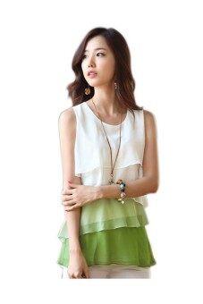 Women's Sleeveless Plus Size Flounce Tiered Chiffon Top (Green) - 2