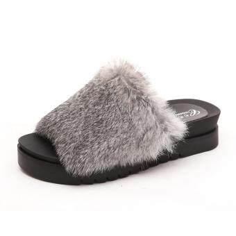 Womens Thick Bottom Sliders Fluffy Faux Fur Flat Slipper Flip Flop Sandal