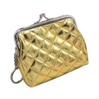 Womens Wallet Diamond Lattice Pure Color Card Holder Coin PurseClutch Bag Handbag - Gold