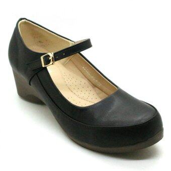 Harga XES Women LC660-A5 Mary Jane Wedge Shoes (Black)
