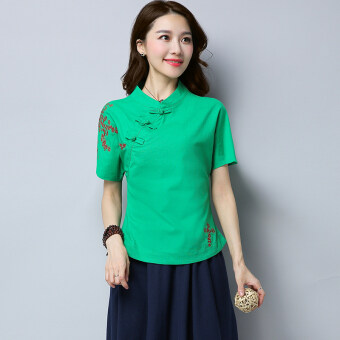 Xia Xin embroidery flower Slimming effect collar plate buttons Linen Top (Green)