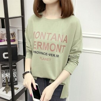 Xianyafu Korean-style new Plus-sized round neck cotton Top T-shirt (Dark green color)