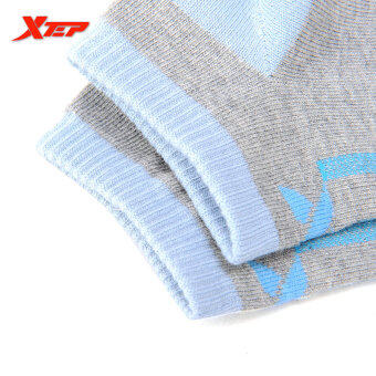 XTEP Women's Cotton Professional Comfortable Elasticity BreathableAthletic Sports Ankle Socks Travel Outdoor Indoor Socks (Grey/Blue) - 5
