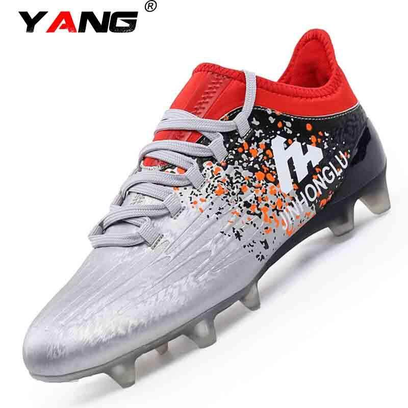 Yang 2017 Baru Sepatu Sepak Bola Luar Ruangan Profesional Sepak Bola Bot Pria Sepak Bola Sneakers Sepak Bola Kliring Dewasa Kasut Bola Sepak Lelaki (perak) -Internasional