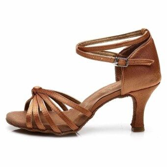 Harga Yashion 217 Women Satin Ballroom Salsa Latin Dance Shoes (Brown)