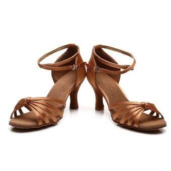 Yashion 217 Women Satin Ballroom Salsa Latin Dance Shoes (Brown) - 4