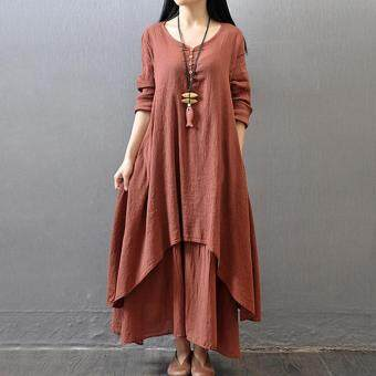 Harga Yazilind Boho Hippie Women Long Sleeve Cotton Linen Casual Long Maxi Dress Amy red