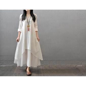 Yazilind Boho Hippie Women Long Sleeve Cotton Linen Casual Long Maxi Dress Amy White - 3