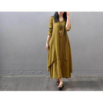 Harga Yazilind Boho Hippie Women Long Sleeve Cotton Linen Casual Long Maxi Dress Amy Yellow