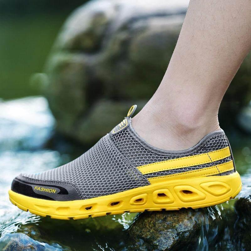 Yealon Pria Sepatu 2018 Kasut Lelaki Musim Panas Sneakers Pantai Pria  Kasual Sepatu Jaring Dapat Bersirkulasi ef1ec30a1d