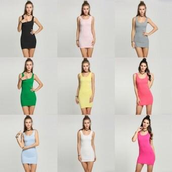 Yika Women Bodycon Sleeveless Mini Dress (Pink) - 2