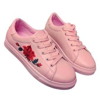 YingWei Fashion Women Sneakers Print PU Casual Shoes SportsLace-Ups Flat Shoes-Pink - 2