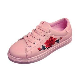 YingWei Fashion Women Sneakers Print PU Casual Shoes SportsLace-Ups Flat Shoes-Pink - 3