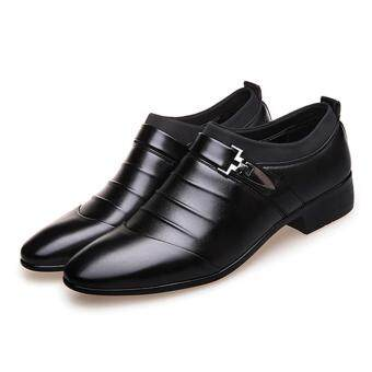 YingWei Men's Formal Business Leather Shoes Casual Formal Shoes (Black) - 4