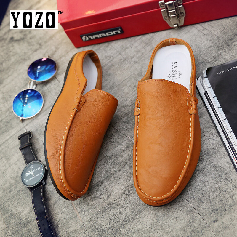 YOZO Half Slipper Slip on Designer Flat Loafers Lazy Casual Leather Sandals Men Summer British Fashion Man Suede Leather Shoes - intl