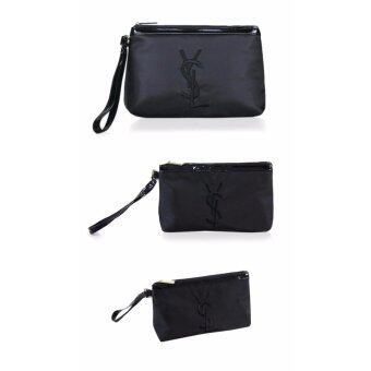 YSL Yves Saint Embroidered Zip Wristlet Pouch Available Black