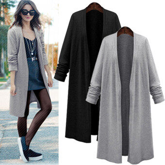 ZANZEA Fashion Women Long Sleeve Casual Loose Cardigan Long Jacket Trench Coat Parka Top (Black)