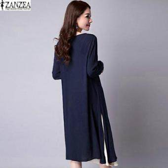 ZANZEA Plus Size M-5XL Women Round Neck Long Sleeve Dress Retro Ladies Patchwork Splicing Tunic Loose Long Dress Kaftan Vestido (Navy) - 2