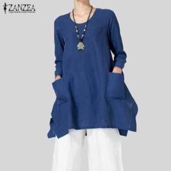 ZANZEA Plus Womens Long Sleeve Asymmetric Split Loose Stylish Blouse Shirt Tops Blue