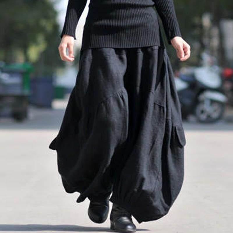 ZANZEA Solid Long Wide Leg Loose Baggy Cargo Pants Trousers Women Cotton Linen High Elastic Waist