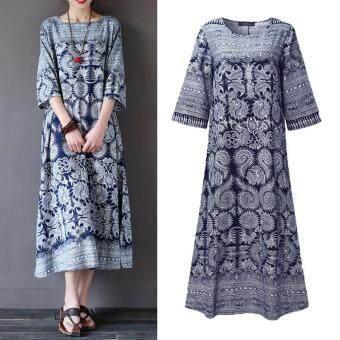 ZANZEA Women Floral Print Tunic Baggy Shirt Dress Summer Autumn Ladies O-Neck Long Ankle-length Dress Vestido