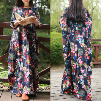 Harga ZANZEA Women Maxi Long Dress Vintage Floral Print Dresses Batwing Long Sleeve Pockets Casual Loose Vestidos Plus Size (Navy)