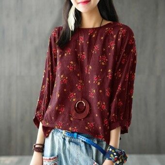 ZANZEA Women Retro Floral Printed 3/4 Sleeve Tops Blusas Pullover Autumn Ladies Round Neck Casual Loose Top Shirt Blouse Wine Red