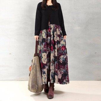 ZANZEA Women Vintage Elegant Dress 2016 Autumn Casual Loose Long Sleeve Print Splice Cotton Linen Maxi Dress Vestidos Plus Size Red Flower