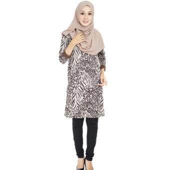 Zariya Muslimah Za-0011-96(6)BrownLong Sleeves LeopardPrinted Tunics Top.