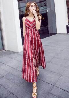 ZASHION Spaghetti Striped Dresses Collectio (Colour As Shown)