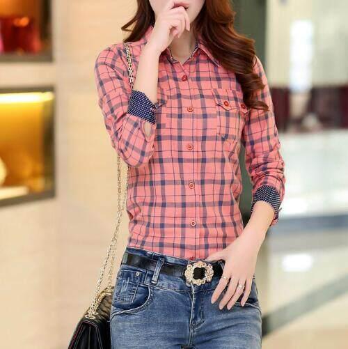 ซื้อ Zh Korean Women S Long Sleeved Plaid Shirt Slim All Match Cotton Plaid Shirt Woman Red Intl Zh ถูก