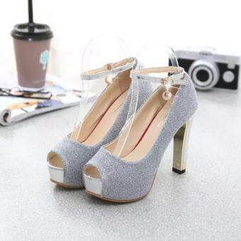 ZH Ladies fashion shallow mouth fish mouth high-heeled shoes Silver