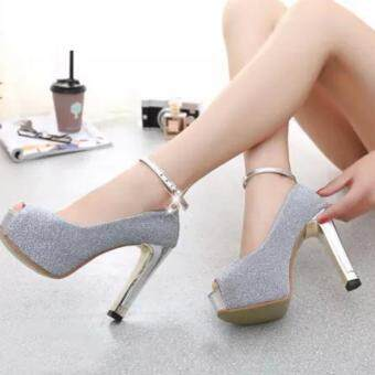 ZH Ladies fashion shallow mouth fish mouth high-heeled shoes Silver - 5