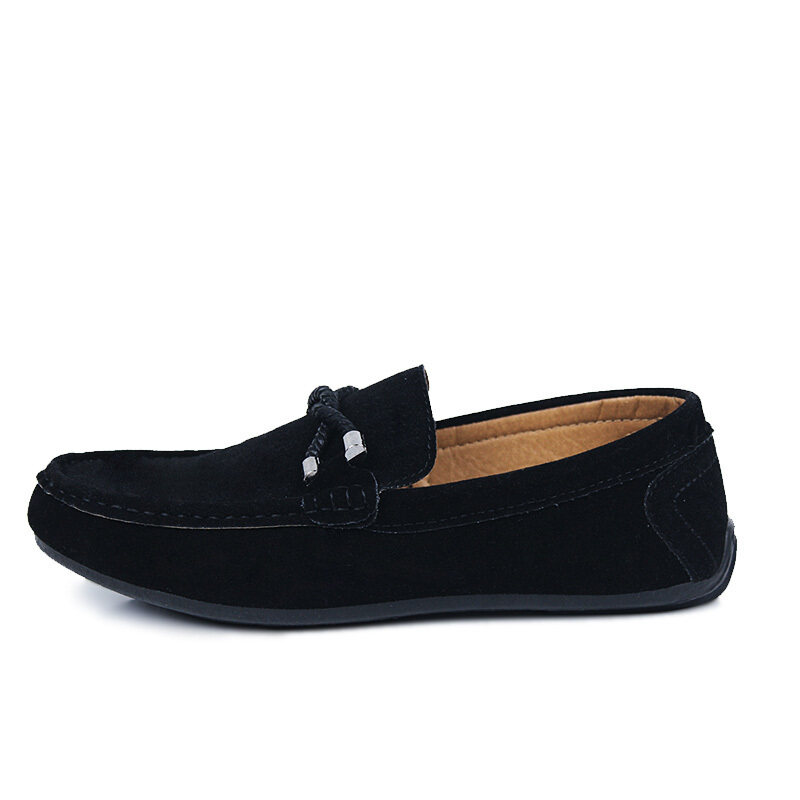 Detail Gambar ZOQI man's Slip-Ons&Loafers fashion suede leather Shoes(Black). - Int'l Terbaru