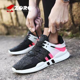 Harga ZORO Sport Shoes Men Breathable Running Shoes Mens Sneakers RunningShoes For Men Outdoor Sports Kasut Berlari (Black and White)