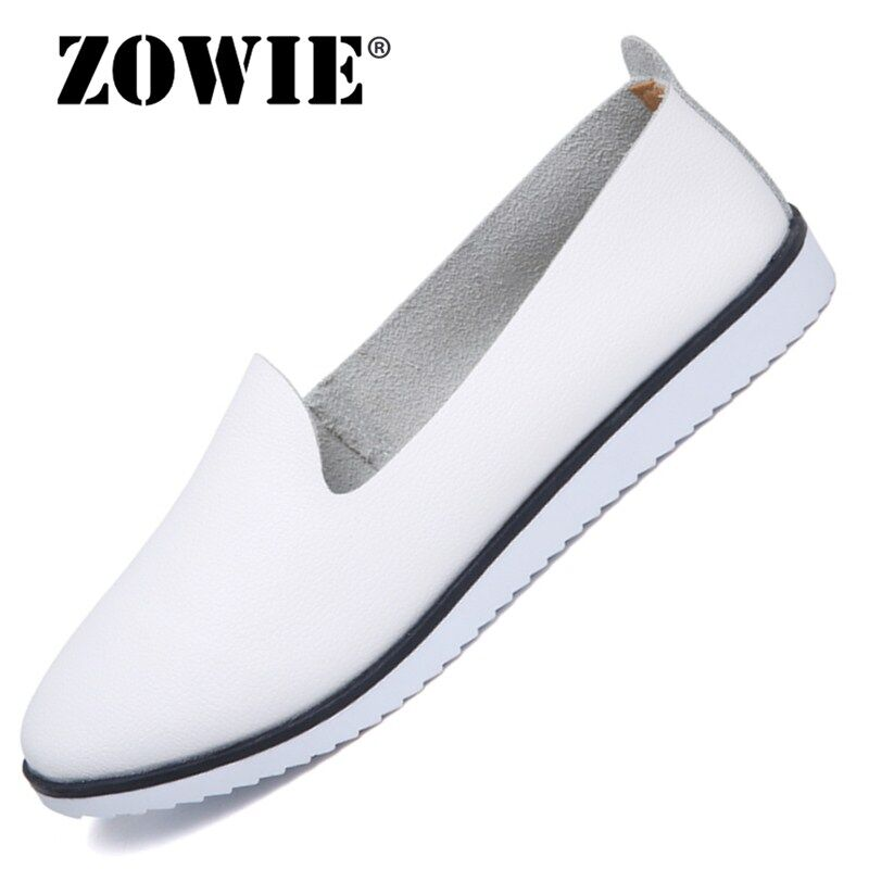 ZOWIE Female Leisure Cowhide Loafers Shoes 2018 Spring New Non-Slip Wear Resistant Women Flat Carrefour Shoes