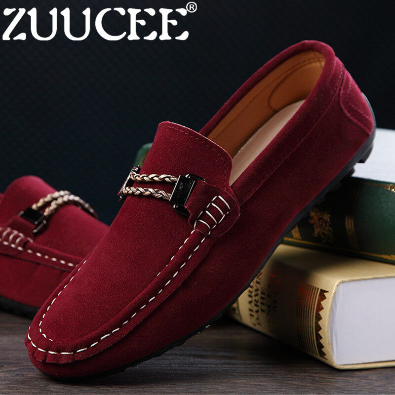 ZUUCEE Men Casual Shoes Cow Suede Leather Loafers Leather Driving Moccasins Slip-Ons Shoes Men Breathable (red) - intl