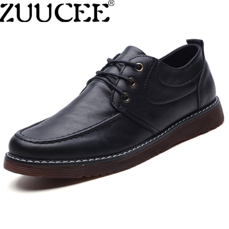 ZUUCEE Spring Men Leather Shoes Explosion Flats Formal Shoes Laces for Men black - intl