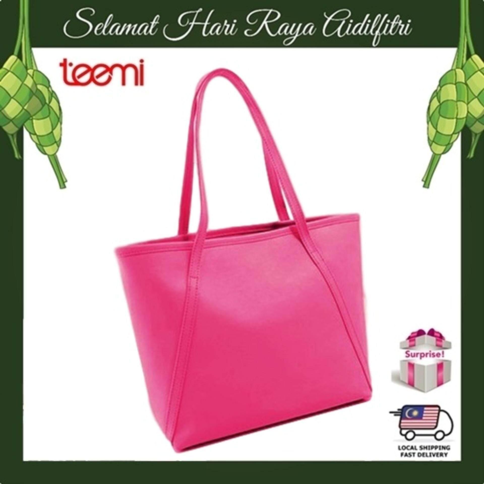 TEEMI Elegant Korean Style PU Leather Large Tote Bag Women Handbag Shoulder Bag - Hot Pink