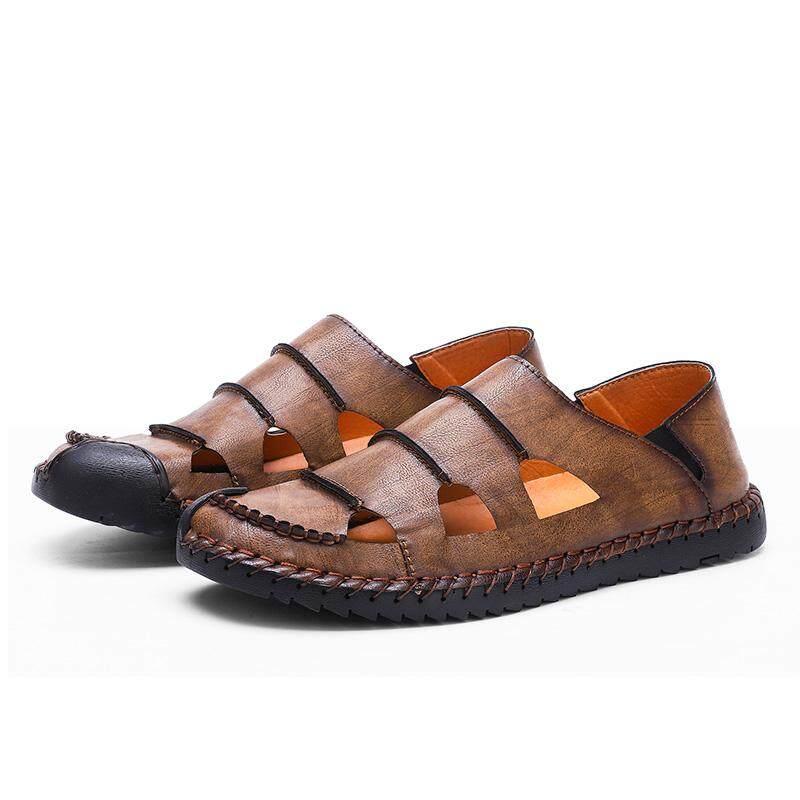 Giày Sandal Nam Size Lớn 38-48 Handmade Da Thật Chính Hãng Da Giày Xăng Bít Mũi Xuồng