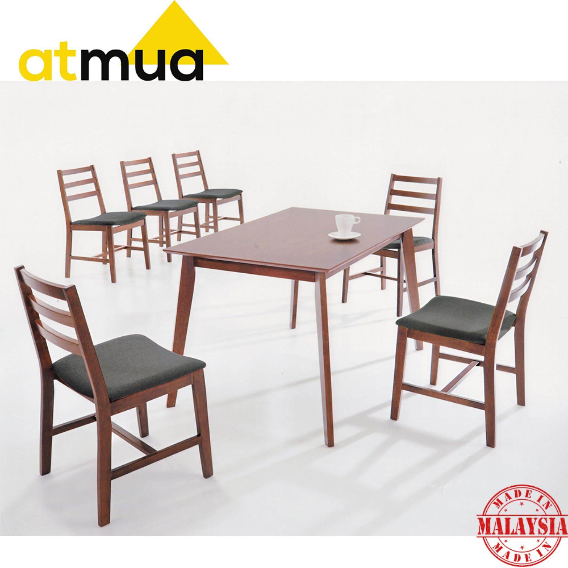 [Promotion] Atmua Lewis Dining Set (1 Table + 6 Chairs) [Full Solid Rubber Wood]