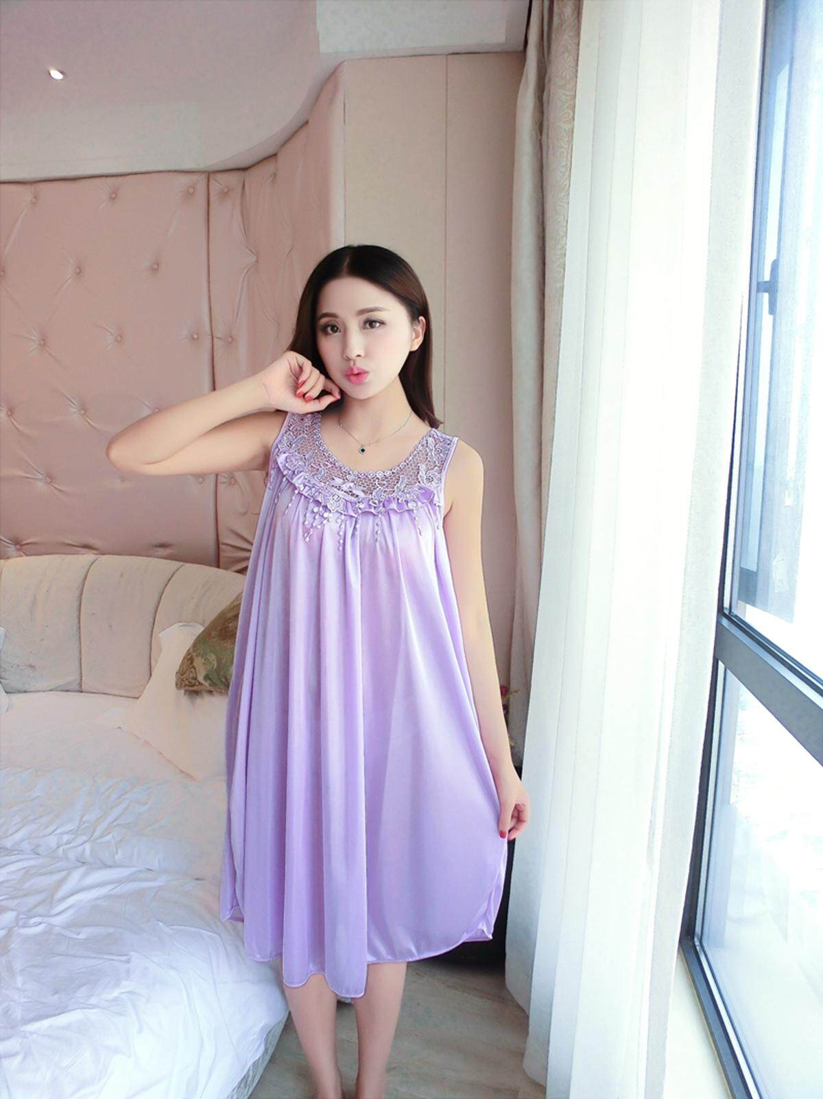 【LIMITED & READY 4 YOU】Brilliant Women Sexy Sleeveless Dress Pyjamas With Premium Grade Quality Silk (Black/Blue/Dark Blue/Lavender Purple/Pink - Free Size)