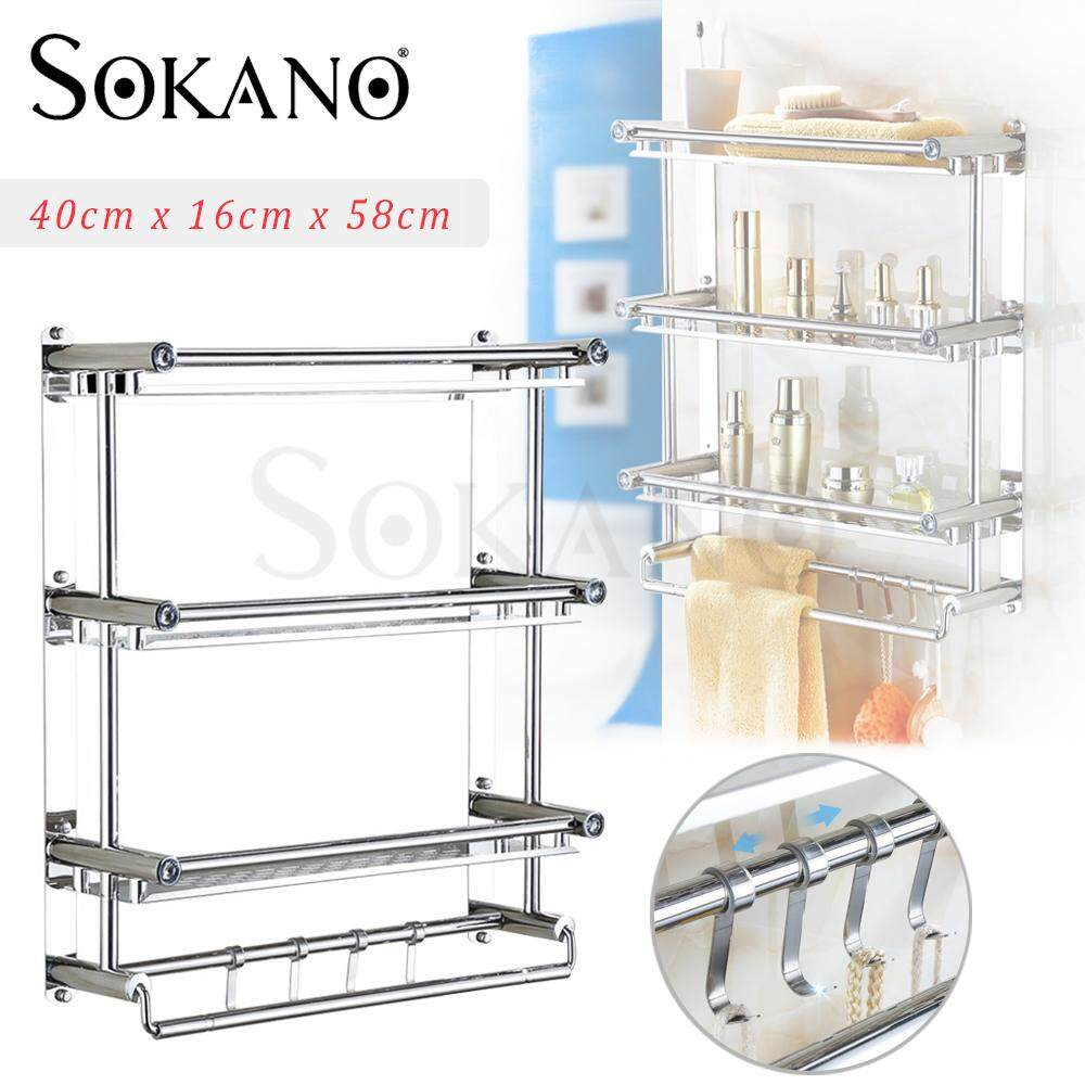 (RAYA 2019) SOKANO TH010 3 Tiers Stainless Steel Bathroom Shelves Toilet Shelf Bathroom Rack Storage Towel Rack Rak Tandas Rak Bilik Mandi (Can Be Installed By Drill or Do Not Need Drill)