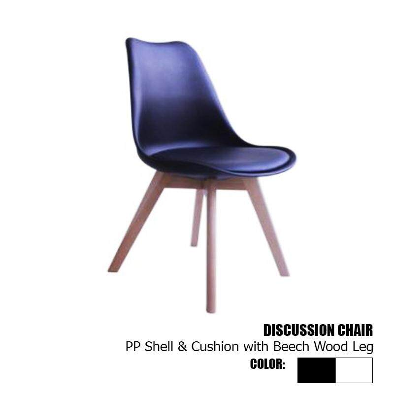 Designer Series Discussion Chair PP Shell & Cushion with Beech Wooden Leg - White/Black + Natural