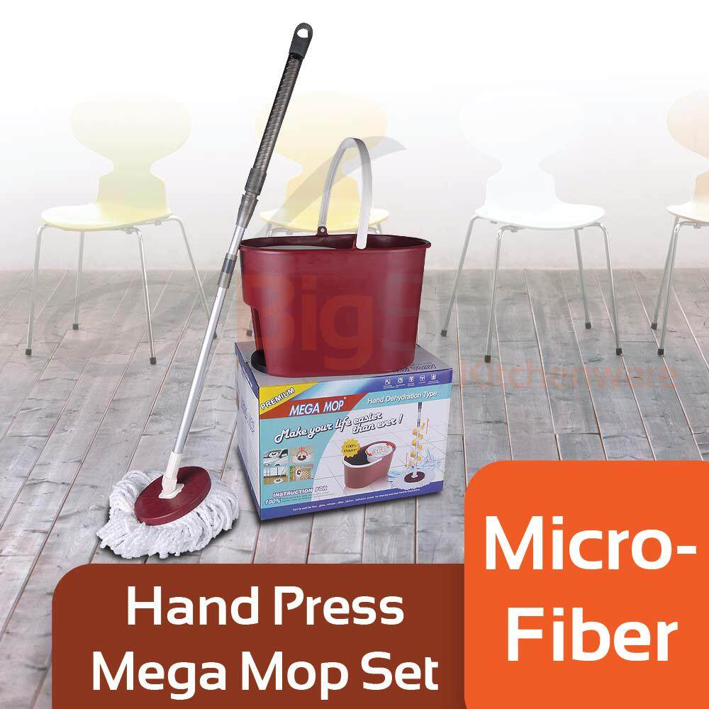 Mega Hand Press Twist Spin Mop Set with Smooth Mechanism
