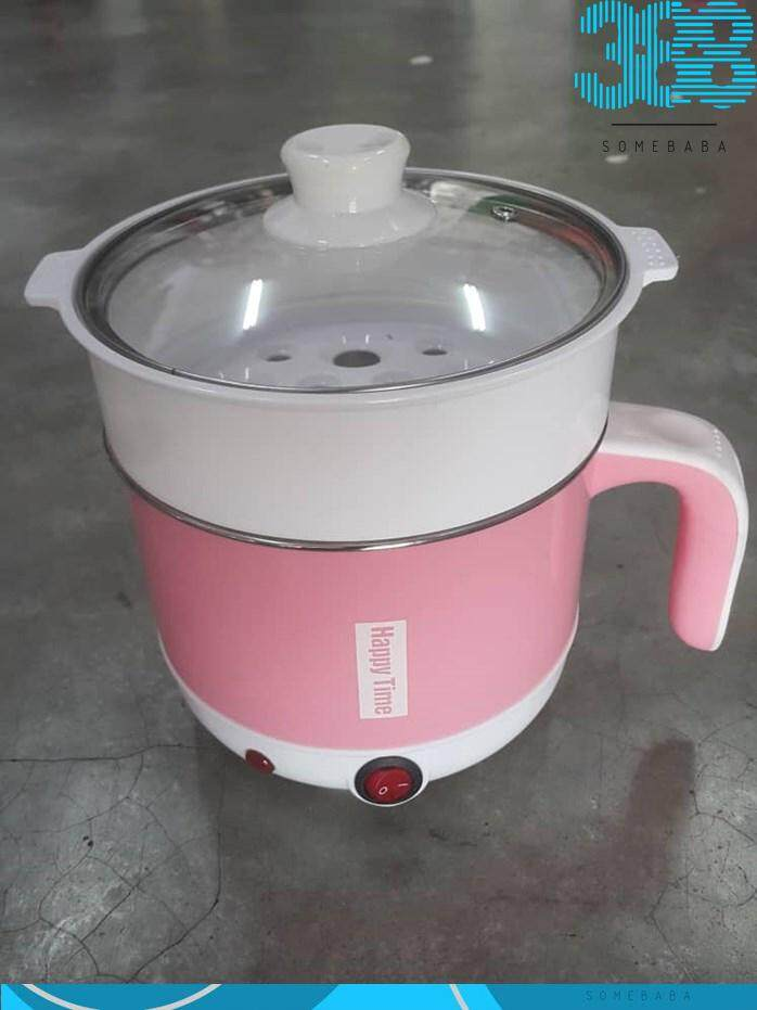【READY STOCK-PINK】Multi-functional Mini Electric Cooker With Steam Tray
